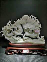 37 Cm China Natural White Jade Sculpture Mythical Beast Dragon Pattern Sculpture