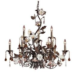 Elk Lighting 85003 Cristallo Fiore 9-lght Chandelier In Deep Rust W/clear And