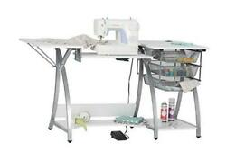 Pro Stitch Sewing Machine Table With 3-wire Mesh Drawers And Drop Leaf Side