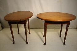 Great Pair Of Queen Anne Style Solid Maple Oval Side End Tables