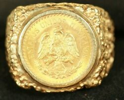 14k Menand039s Coin Ring. With 2.5 Peso Mexican Gold Coin. 10.23 Grams Total Weight
