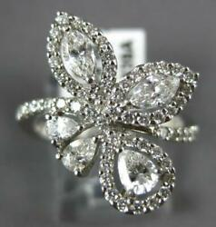 Large 1.22ct Diamond 18k White Gold Round Marquise And Pear Shape Flower Love Ring