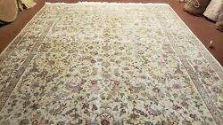 Vintage Oriental Carpet 9x12 Rug Wool With Silk Fine Hand Knotted Beige And Teal