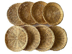 Lot Of 8 Vintage Braided Edge Bamboo Wicker Rattan Paper Plate Holders 10 Boho
