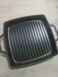 """Nwob Staub Square Cast Iron Grill Pan 10"""" Purple Made France Griddle Skillet"""