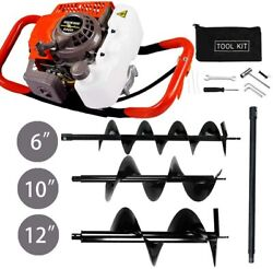 63cc Gas Post Hole Digger Borer Fence 3 Earth Auger Drill Bits And Extention Rod