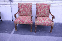 Exquisite Pair Of 19th C. French Walnut Armchairs With New Upholstery