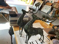 Candle Holders Andnbsppure Copper Bronze Lucky Deer Candlestick Holder Pair Vintage