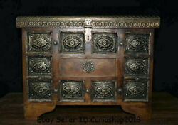 21.2 Antique Chinese Huanghuali Wood Inlay Silver Drawer Jewelry Box Container