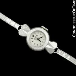 1950and039s Rolex Femmes Vintage Montre 18k Or Blanc And Diamants - Rare And Beau
