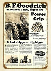 At Home Wall Art1953 B.f. Goodrich Rubber Tractor Tire Power Grip Metal Tin Sign