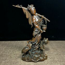 Chinese Collectible Old Boxwood Carved Lotus And Fisher Maiden Ornament Statue