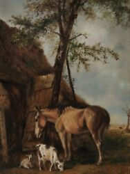 Belgian Signed Thys - Horse And Goats Before A Stable