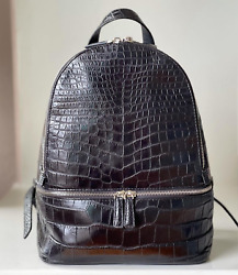 Authentic M Crocodile Leather Womenand039s Backpack Shoulder Bag Zipper Black Large