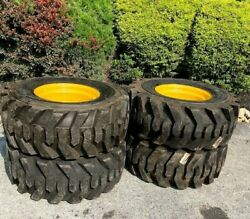 4 New 14-17.5 Skid Steer Tires And Rims For John Deere - 14 Ply Rating - 14x17.5