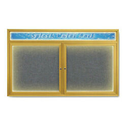 United Visual Products Uv452hiled-gold-medgry Corkboard,med Grey/gold,60 X 36