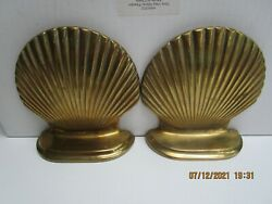 Brass Shell Bookends - Beach Clams - Free Ship