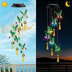 Solar Hummingbird Wind Chimes Outdooor Solar Wind Chimes With Bells Color Chang