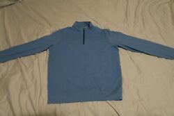 Peter Millar Crown Sport Blue Dotted 1/4 Zip Golf Pull Over Sweater Menand039s Medium