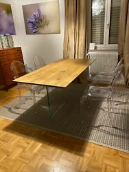 Table Solid Wood Oak With Knots, Various Sizes, Base Glass, Finished Wheat
