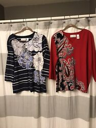 Alfred Dunner Sparkle Floral Embroidered Shirts Set Of 2 Size L 3 4 Sleeve.