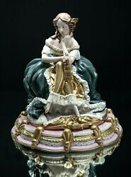 Sculpture In Capodimonte Porcelain Lady French Signed Bedin Flowerpot