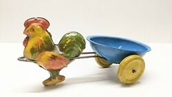 Vintage Tin Litho Rooster Pulling Egg -shaped Cart Easter Toy With Wheels