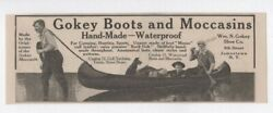 Antique 1900and039s Canoe Hunting Fishing Camping - Gokey Boots And Moccasins - 1910 Ad