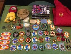 Mixed Bsa Patch, Neckerchief, Etc. Lot Patches, Magazines, Jacket, Silver Ring