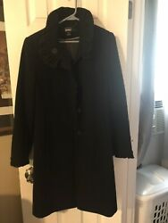 Dkny Black Cashmere And Wool Coat Woman's Heavy Winter Warm