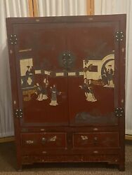 Antique Asian Coromandel Red Painted And Lacquered Chinese Cabinet