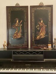 Vintage Pair Of Chinese Carved Wood Raised Relief Plaques Of Courtesans