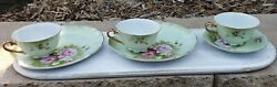 Lefton China Green Heritage Rose Set Of 2 Snack Plates And Cups And Cup And Saucer