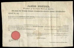 James Monroe - Land Grant Signed 05/01/1824 Co-signed By George Graham