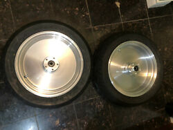 Pair Of Motorcycle Billet Aluminum Wheels With Hubs And Dunlop Tires 17