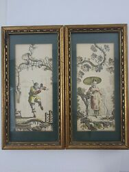 2 Vintage Antique Chinese Watercolor Paintings 7x3.5 Mask Dancer /fisher Lady