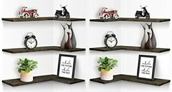 Corner Floating Shelves Wall Mounted L-shaped Inequilateral, 6 Pcs Gray Wood