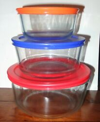 Pyrex 6 Piece Clear Glass Food Storage Containers With Pyrex Lids 2, 4, And 7 Cup