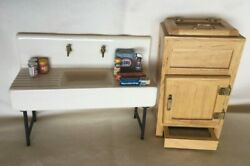Doll House Vintage Natural Wood Kitchen Ice Box And Ceramic Farm Sink 10 Pc Lot