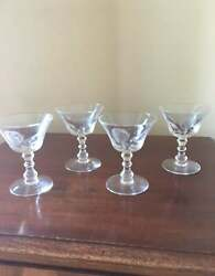 Set Of 4 Antique Fostoria Rose Crystal Footed Cocktail Stems Glasses