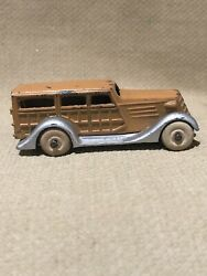 """Vintage 1930s 1940s Barclay Toy Woodie Wagon White Wheels 2 3/4"""" Great Cond."""