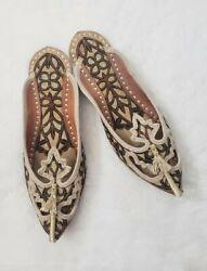 New Traditional Handmade Indian Mojari Leather Flats Shoes for Women Size 7 8