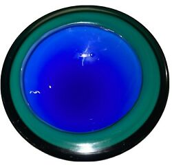 Thick Vintage Blue Murano Glass Sommerso Geode Bowl
