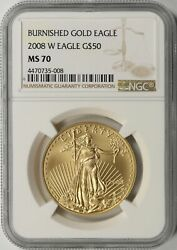 2008-w 50 Burnished Gold American Eagle 50 Ngc Ms70 1oz Fine Gold