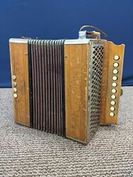 Hohner 10 Button 4 Bass Accordion Vintage Wood Wooden Germany Marca Registrada