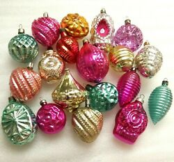 Set Of 19 Vintage Ussr Glass Russian Christmas Ornaments Xmas Tree Decorations