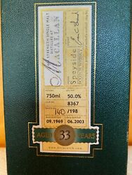 1969 The Macallan 33 Year Whisky Duncan Taylor Box Only - Hand Numbered Label