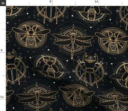 Insects Black Nature Gold Fantasy Bug Insect Spoonflower Fabric By The Yard