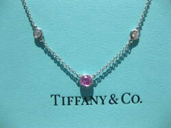 And Co. Elsa Peretti Diamond By The Yard Platinum Pink Sapphire Necklace