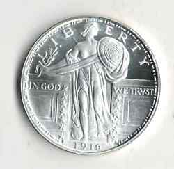 One Ounce .999 Fine Silver Round Standing Liberty Type